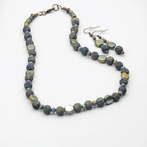 Purple Iridescent Lava Stone Necklace and Earrings
